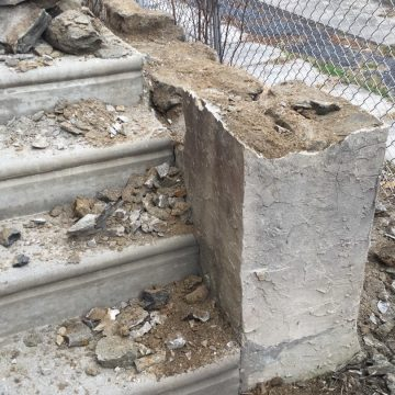 Steps leading up to portico porch during project