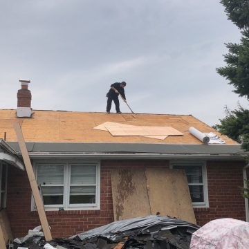 Another shot of the process of installing a GAF roofing system in Brookhaven