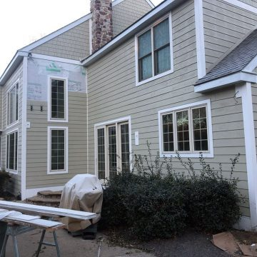 Almost finished with fiber cement siding application