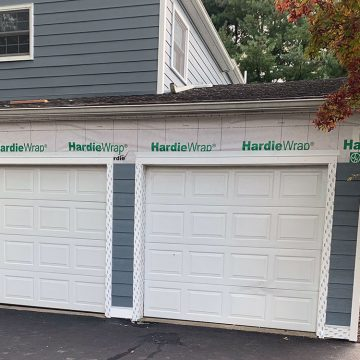 garage doors with flashing around them