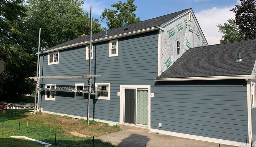 new James Hardie siding in evening blue