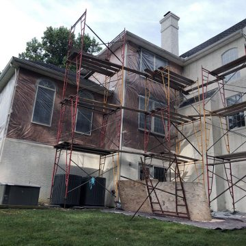 stucco remediation project on a home in West Chester