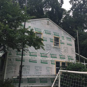 Side view of home with James Hardie wrap installed